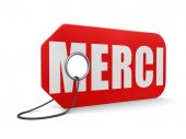 Label merci (clipping path included) — Stock Photo