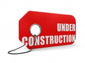 Label Under construction (clipping path included) — Stock Photo