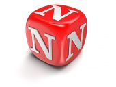 Dice with letter N (clipping path included) — Stock Photo