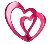 Two bound hearts (clipping path included) — Stock Photo