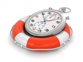 Stopwatch and lifebuoy (clipping path included) — Foto Stock