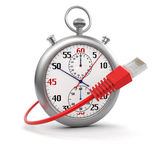 Stopwatch and Computer Cable (clipping path included) — Foto Stock