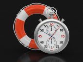 Stopwatch and lifebuoy (clipping path included) — Stockfoto