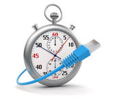 Stopwatch and Computer Cable (clipping path included) — Foto de Stock