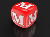 Dice with letter M (clipping path included) — Stock Photo