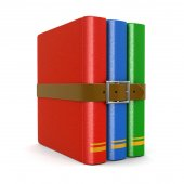 Stack of book with belt (clipping path included) — Stock Photo