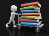 Man and Handtruck with books — Stock Photo