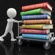 Man and Handtruck Medical textbooks (clipping path included) — Stock Photo #68232653