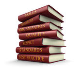 Stack of book on best practice (clipping path included) — Stock Photo