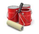 Paint roller and Cans of paint (clipping path included) — Fotografia Stock
