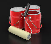 Paint roller and Cans of paint (clipping path included) — Foto Stock