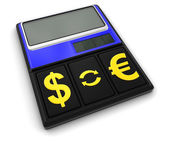 Calculator and Currency (clipping path included) — Foto de Stock