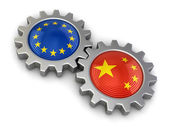 Chinese and European union flags on a gears (clipping path included) — Stock Photo