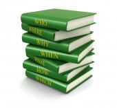 Stack of books with questions (clipping path included) — Stock Photo