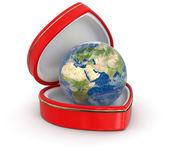 在心框 (剪切路径包括全球) — 图库照片