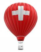Hot Air Balloon with Swiss Flag (clipping path included) — Stock Photo
