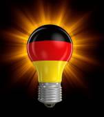 Light bulb with German flag (clipping path included) — Stock Photo
