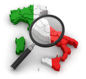 Map of Italy with loupe — Stock Photo