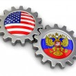 USA and Russian flags on a gears (clipping path included) — Stock Photo #75105981