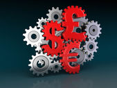 Cogwheel Currencies (clipping path included) — Stock Photo