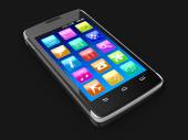 Touchscreen smartphone (clipping path included) — Stock Photo