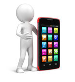 Touchscreen smartphones and man (clipping path included) — Stock Photo