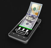 Touchscreen smartphone with dollar (clipping path included) — Stock Photo