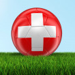 Soccer football with Swiss flag on grass — Stock Photo #77608168