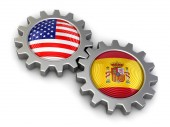 USA and Spanish flags on a gears (clipping path included) — Stock Photo
