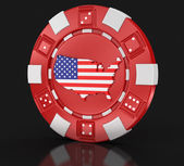 Chip of casino with Map of USA (clipping path included) — Stock Photo