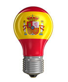 Light bulb with Spanish flag (clipping path included) — Stock Photo