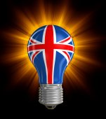 Light bulb with British Flag (clipping path included) — Stock Photo