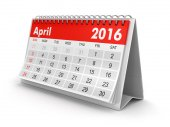 Calendar -  April 2016  (clipping path included) — Stock Photo