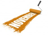 Paint roller with november (clipping path included) — Stock Photo