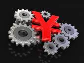 Cogwheel Yen (clipping path included) — Stock Photo