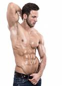 Young fit bodybuilder with perfect fit body — Stock Photo
