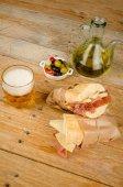 Ham and cheese bocadillo — Stock fotografie