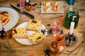 Halloween party table — Stock Photo