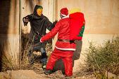 麻烦中的圣诞老人 — 图库照片