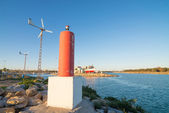 Harbour powered with renewable energy — Stock Photo