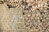 Rebuilt layers of an old wall — Stock Photo