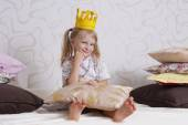 Girl in princess crown — Stock Photo