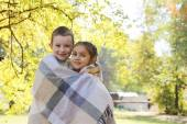 Sister and brother  in   autumn — Stock Photo