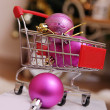Shopping cart with Christmas balls — Stock Photo #60135851