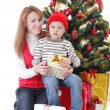 Mother and son with gifts — Stock Photo #61838237