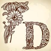 Daisy Letter D — 图库矢量图片