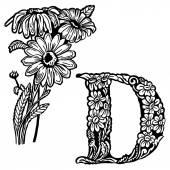 Daisy Letter D — Stok Vektör