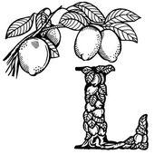 Lemon Letter L — 图库矢量图片