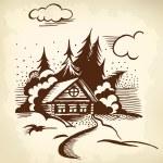 Cabin in the woods — Stock Vector #58372465