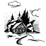 Cabin in the woods — Stock Vector #58372469